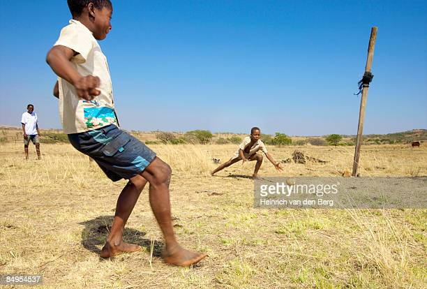 Children playing soccer in the township. Winterton, KwaZulu-Natal Province, South Africa
