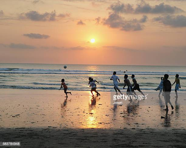 Children Playing Soccer on Kuta Beach