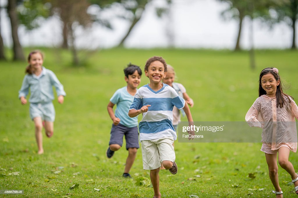 Children Playing Tag : Stock Photo