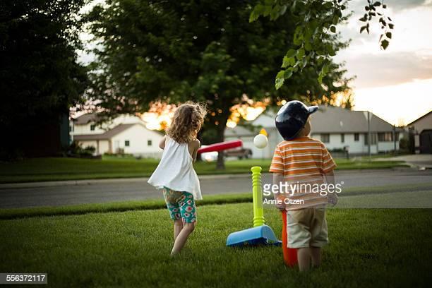Children playing tee-ball