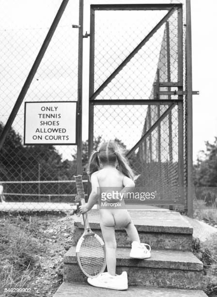 Children Playing Tennis June 1986 a Little Girl taking literally the sign on the gates of the tennis courts and came wearing only tennis shoes as...