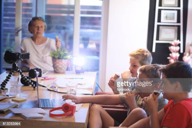 Children playing using modern technology