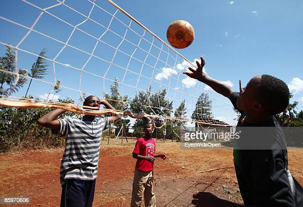 Children playing volleyball in the Cargo Human Care Social project by Lufthansa Airline in Cooperation with different sponsors on March 20 2009 in...