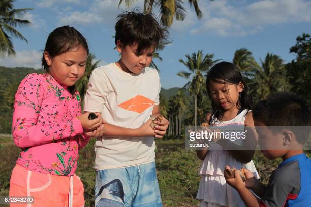 Children playing with baby chicken at the beach.