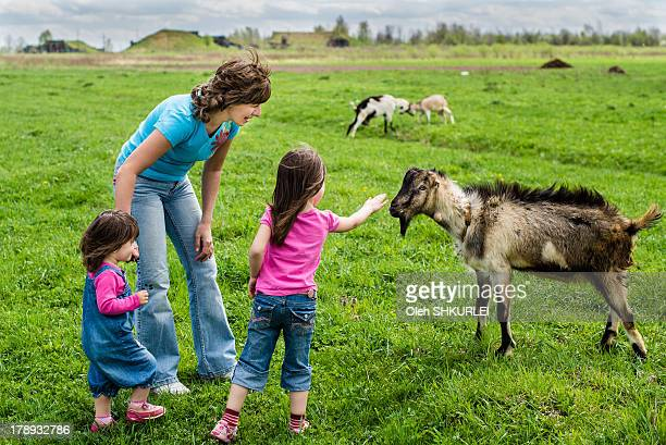 Children playing with the goats