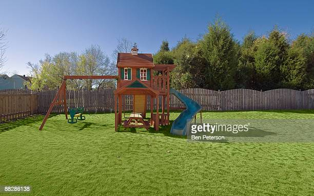 children playset - fence stock pictures, royalty-free photos & images