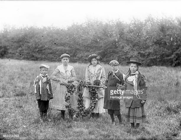Children posing with May Day garlands Oxfordshire c1860c1922