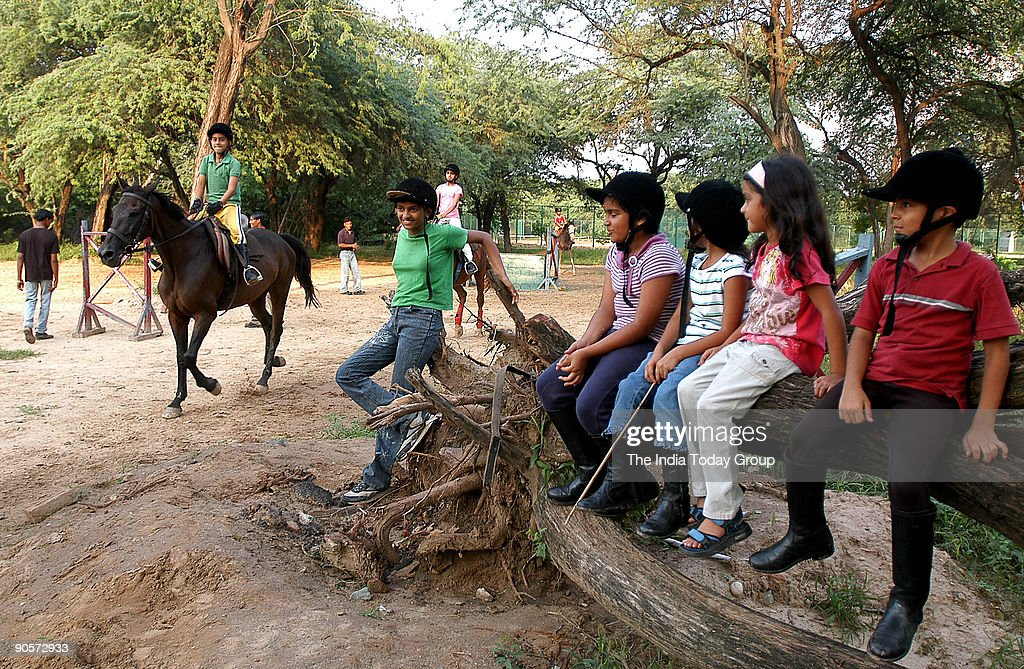 Children practice at the Horse riding at the Chandigarh riding club in Chandigarh India