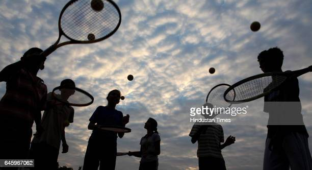 Children practice at the RDT Tennis Academy in colloboration with Rafael Nadal foundation at the Anantapur Sports Village Anantapur Andhra Pradesh
