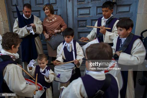Children practice with the drums before taking part in the procession of the Jesus del Via Crucis brotherhood on April 11, 2017 in Zamora, Spain....