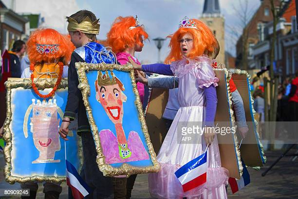 Children practise the performance on the day before Queensday at Franeker, The Netherlands, on April 29, 2008 . Queen Beatrix and the royal family...