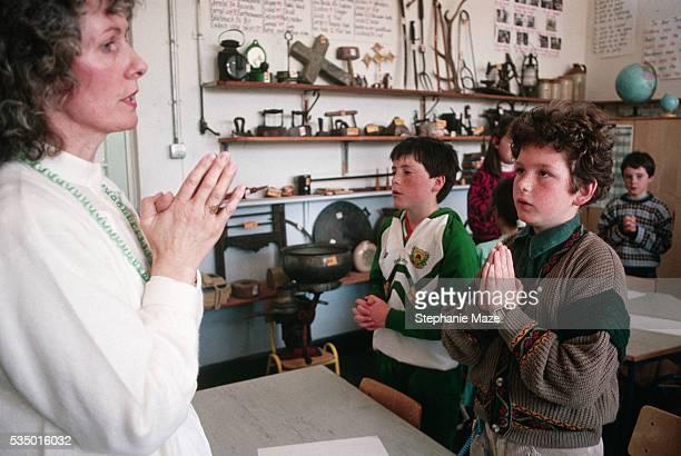Children Praying at Gaelic School
