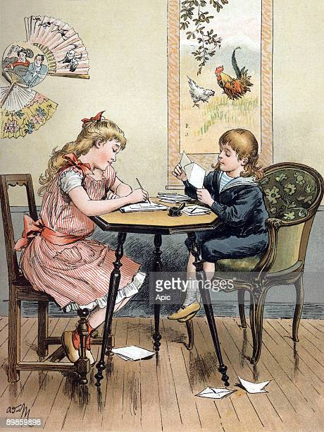 Children preparing invitations illustration from the book 'All the joy' by Zari AdrienMarie edition illustration by Emile Guerin 1890