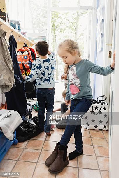 Children preparing to leave day care center