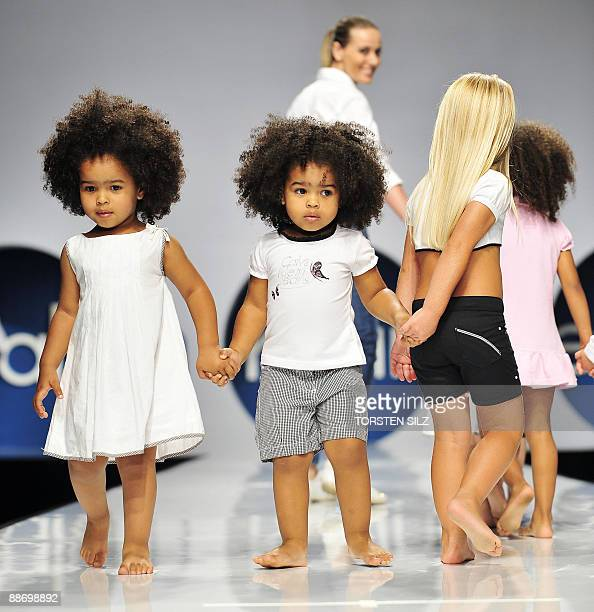 Children present fashion of the label 'Calvin Klein' on June 26 2009 in Florence Italy during the 'Pitti Immagine Bimbo' fashion fair The 69th...