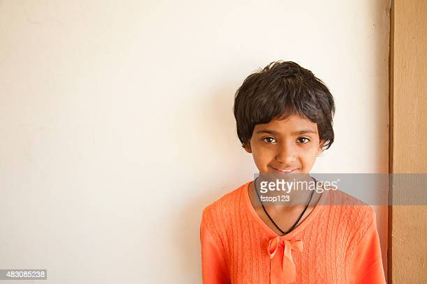 Children. Pretty Indian girl with white background.