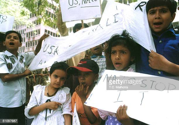 Children Protest Nato Air Strikes Against Yugoslavia In Front Of The American Embassy Building In New Delhi On May 11, 1999.