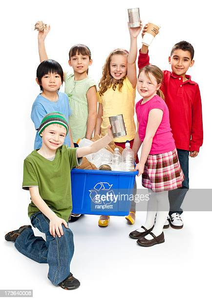 Children Recycling Isolated