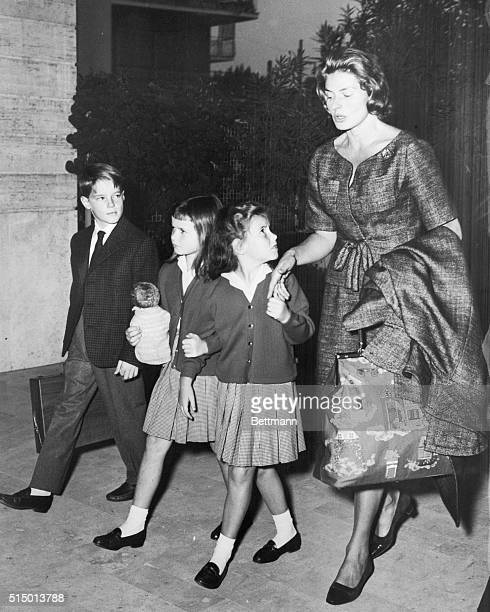 Children Returned to Ingrid. Rome: Actress Ingrid Bergman walks with her children, Robertino and twins Isotta and Isabella after they were turned...
