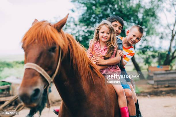 Children riding a horse