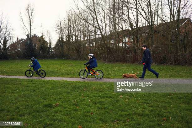 children riding bicycles at the park with their father and dog - snow stock pictures, royalty-free photos & images