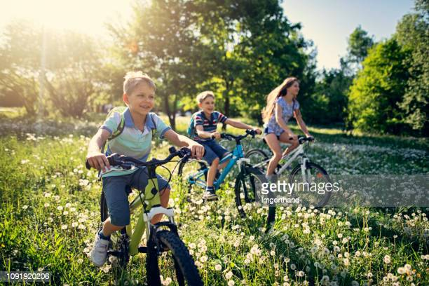 children riding bicycles in dandelion field - springtime stock pictures, royalty-free photos & images