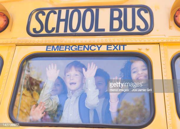 Children riding school bus