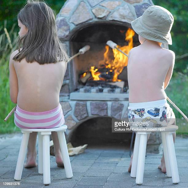 Children roasting marshmallows in stove