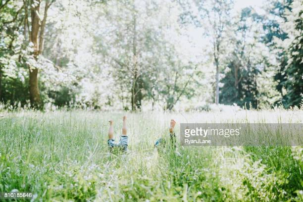 Children Rolling in Tall Grass