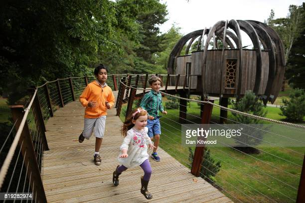 Children run from a new Woodland Tree House during a photocall at Kew Gardens on July 20 2017 in London England The Woodland House is part of the Kew...