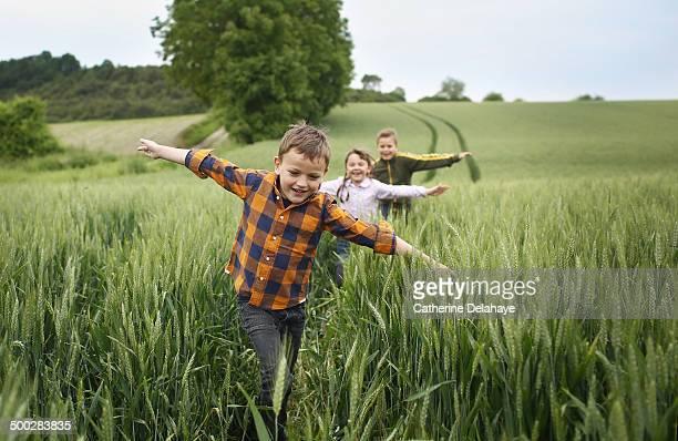 3 children running in a field - nur kinder stock-fotos und bilder