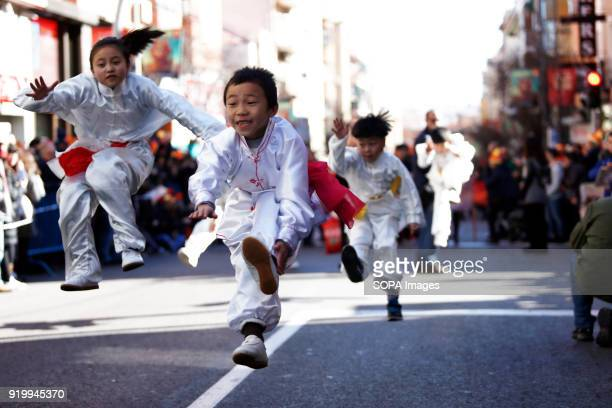 Children seen performing Chinese martial art during the chinese new year parade Thousand of participants take part in the Chinese New Year parade in...