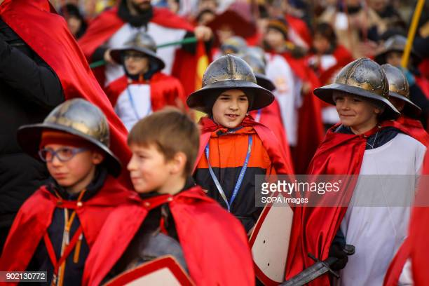 Children seen wearing costumes while taking part in the Epiphany procession also know as Three Kings Day The Catholic feast day remembered the visit...