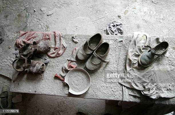 Children' shoes remain in a kindergarten in the ghost town of Pripyat near Chernobyl's nuclear power plant 27 February 2006 Chernobyl's numberfour...