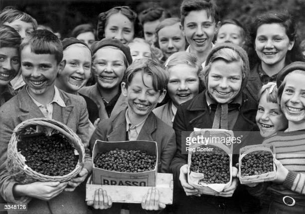 Children showing off their boxes of blackberries at Frensham in Surrey