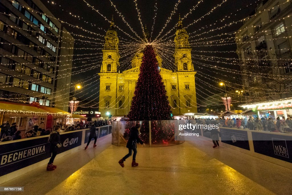 Children skate in front of Saint Stephen Basilica on December 7, 2017 in Budapest, Hungary. The traditional Christmas market and lights will stay until 31st December 2017.