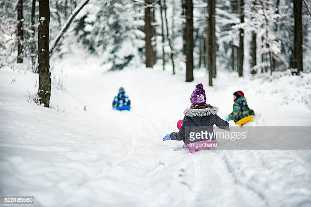 Children sledding in winter forest.