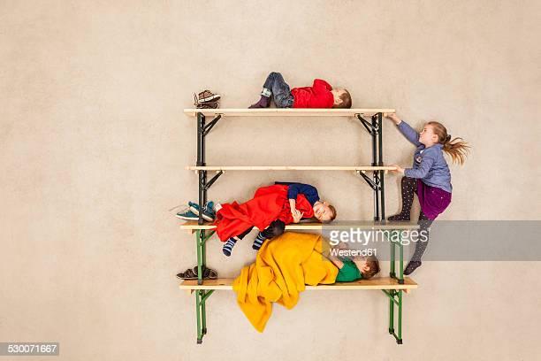 Children sleeping in bunkbed