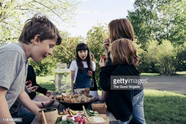 children standing at table eating strawberries - voorgerecht stockfoto's en -beelden