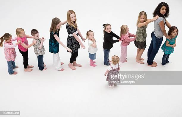 Children standing in a line.