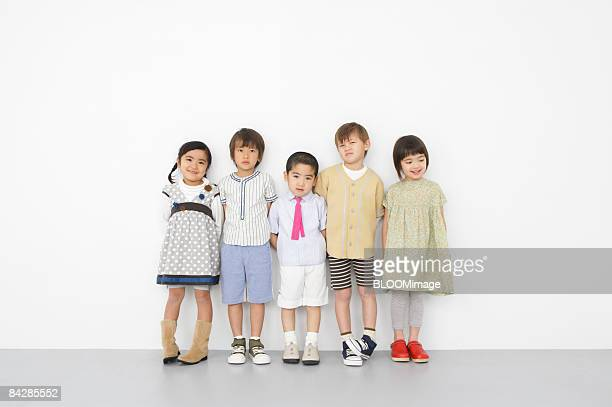 Children standing in a row