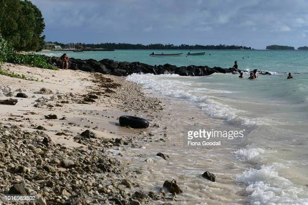 Children swim in the lagoon on August 15 2018 in Funafuti Tuvalu The Japanese Government have funded a beach nourishment project to find an...