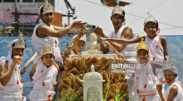 Children take part in a procession on the occasion of Mahavir Jayanti on April 5 2012 in New Delhi India Jains around the world celebrate this day as...