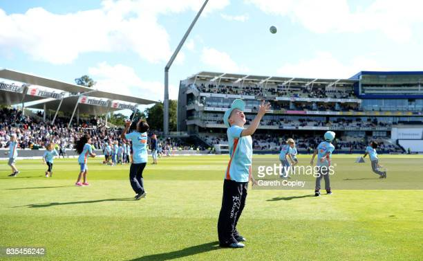 Children take part in All Stars Cricket during day two of the 1st Investec Test match between England and West Indies at Edgbaston on August 18 2017...