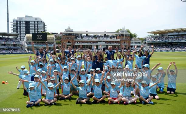 Children take part in All Stars cricket during the lunch break of day one of 1st Investec Test match between England and South Africa at Lord's...