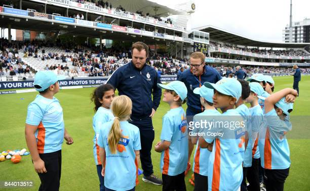 Children take part in All Stars Cricket during the lunch break on day one of the 3rd Investec Test match between England and the West Indies at...