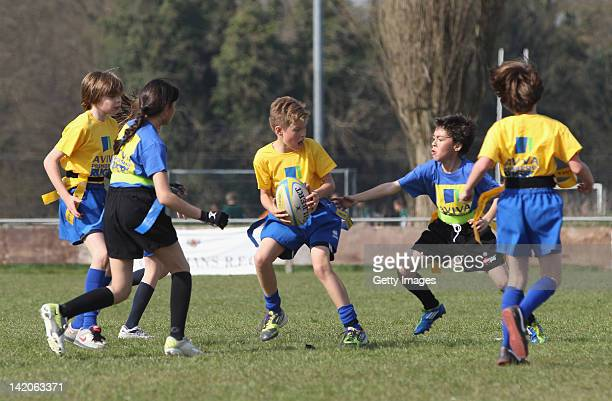 Children take part in an Aviva Premiership Rugby Schools Programme Festival at Fullerians RFC on March 29 2012 in Watford England Sanderson watched...