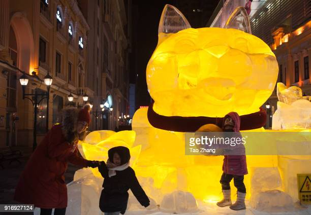 Children take photo with dog of Ice sculpture was decorated with coloured lights and decoration set up for the upcoming Chinese Lunar New Year at...