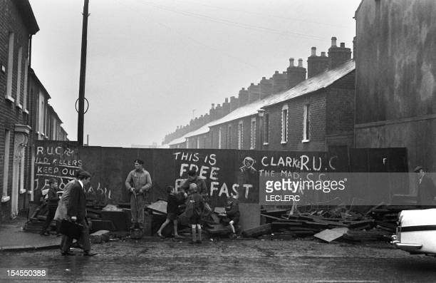 Children talk with British soldiers at a roadblock 21 September 1969 in a street of Belfast Ulster LECLERC / AFP Since the partition of Ireland in...
