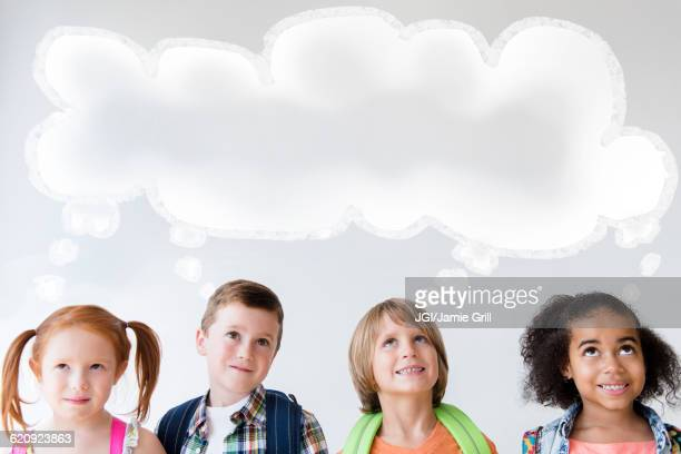 Children thinking with thought bubble